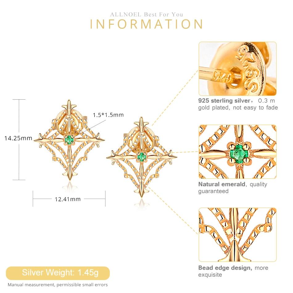 ALLNOEL 925 Sterling Silver Stud Earrings For Women Ethnic Genuine Gemstone Natural Emerald Gold 9k Lacey Earrings Fine Jewelry (7)