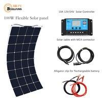 Boguang портативный солнечный комплект панели 100 Вт DIY RV/лодка солнечные пластины Системы гибкие солнечные панели + контроллер + кабель открытый