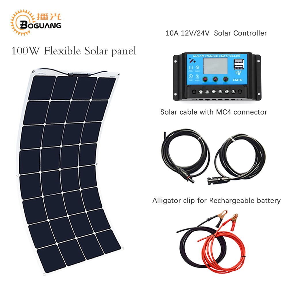 Boguang portable solar panel Kit 100W DIY RV/Boat Solar plate System flexible solar panel+controller+cable outdoor light led boguang 6x100w solar system kits 600w flexible solar panel controller inverter cable adaptor for12v 24v rv marine camping home