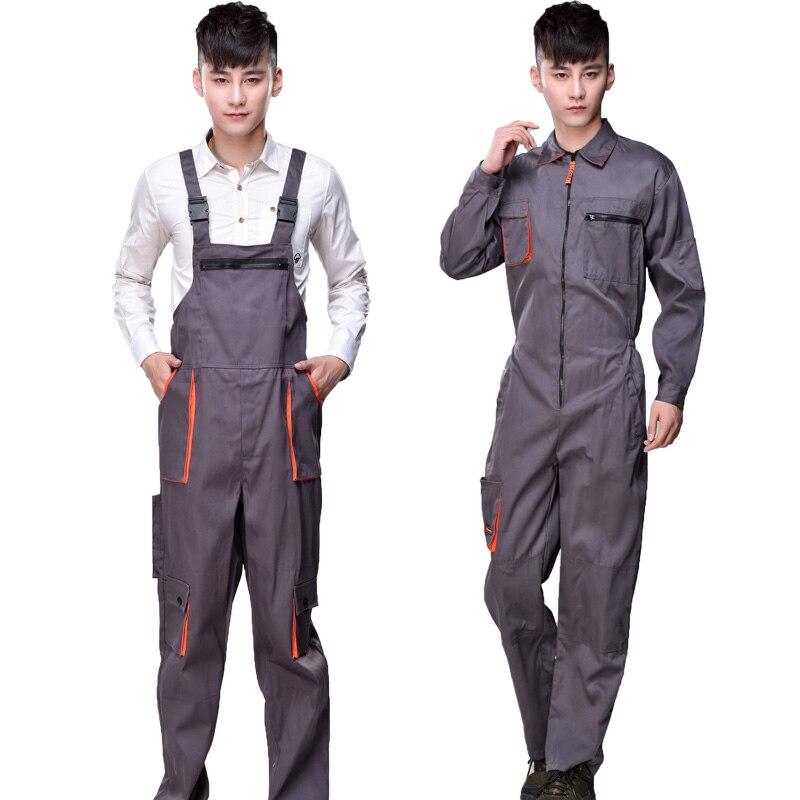¡S-4XL! 2018 hombres trabajo conjunto pantalones traje ingeniería mecánica reparación taller espalda trabajo seguro ropa