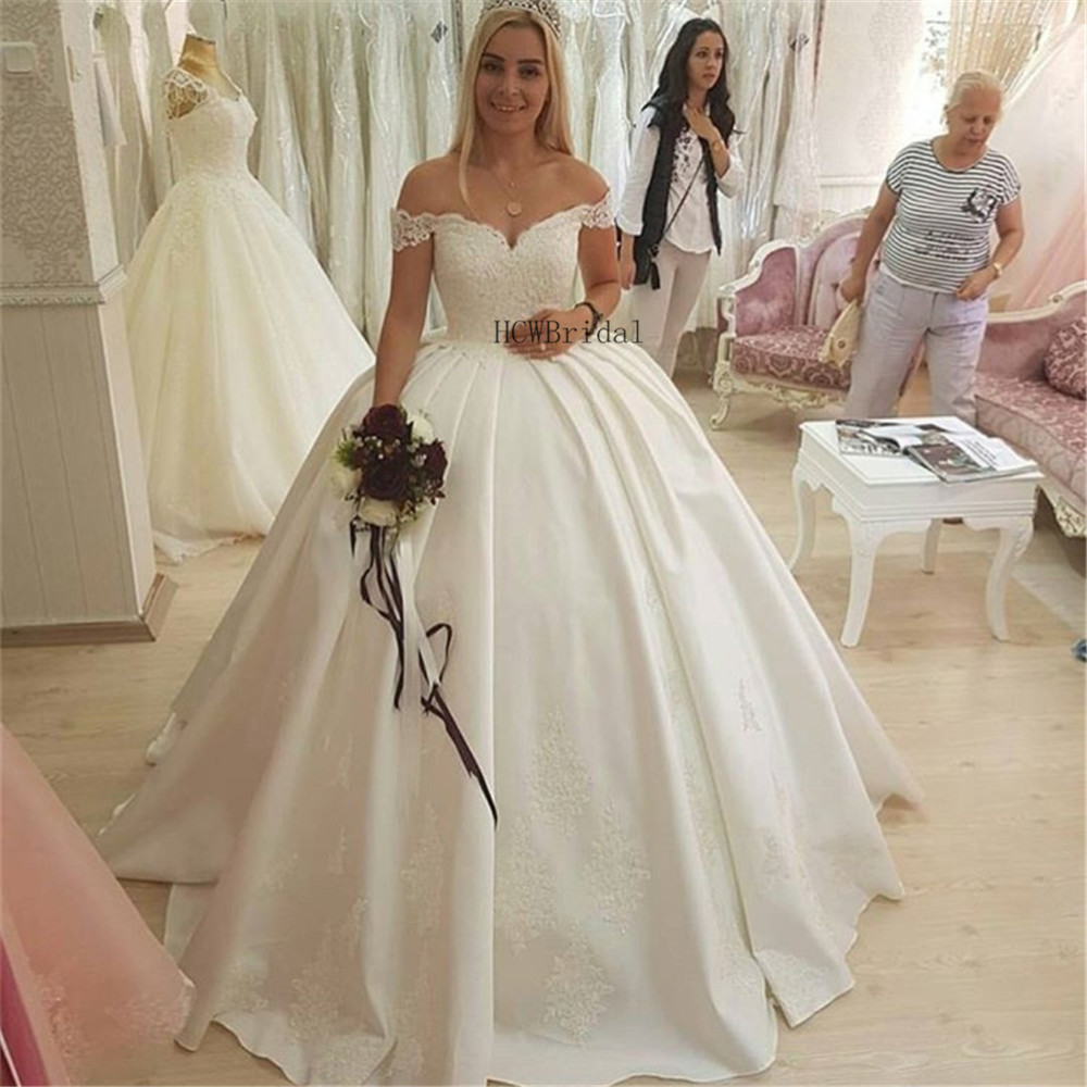 Custom Made Ball Gown Satin Wedding Dresses Off The