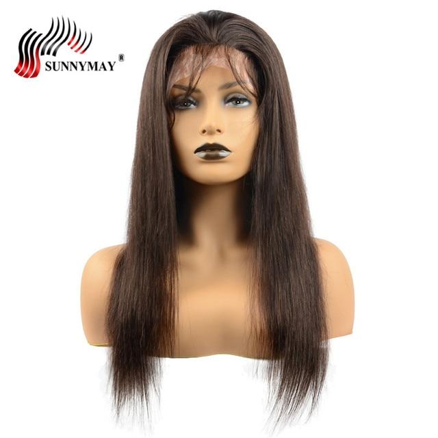 Sunnymay niestandardowy jedwab baza pełna peruki typu Lace z ludzkich włosów 130% gęstość Pu wokół prosto brazylijski Remy włosy z dzieckiem włosy dla kobiety