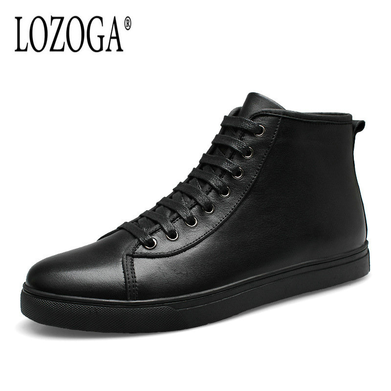 LOZOGA New Men Boots Plus Size 37-48 Autumn Winter Plush Boots Black Genuine Leather Keep Warm Ankle Snow Boots Ankle Lace-Up autumn warm plush winter shoes men zipper 100% genuine leather boots men thick bottom waterproof black high top ankle men boots