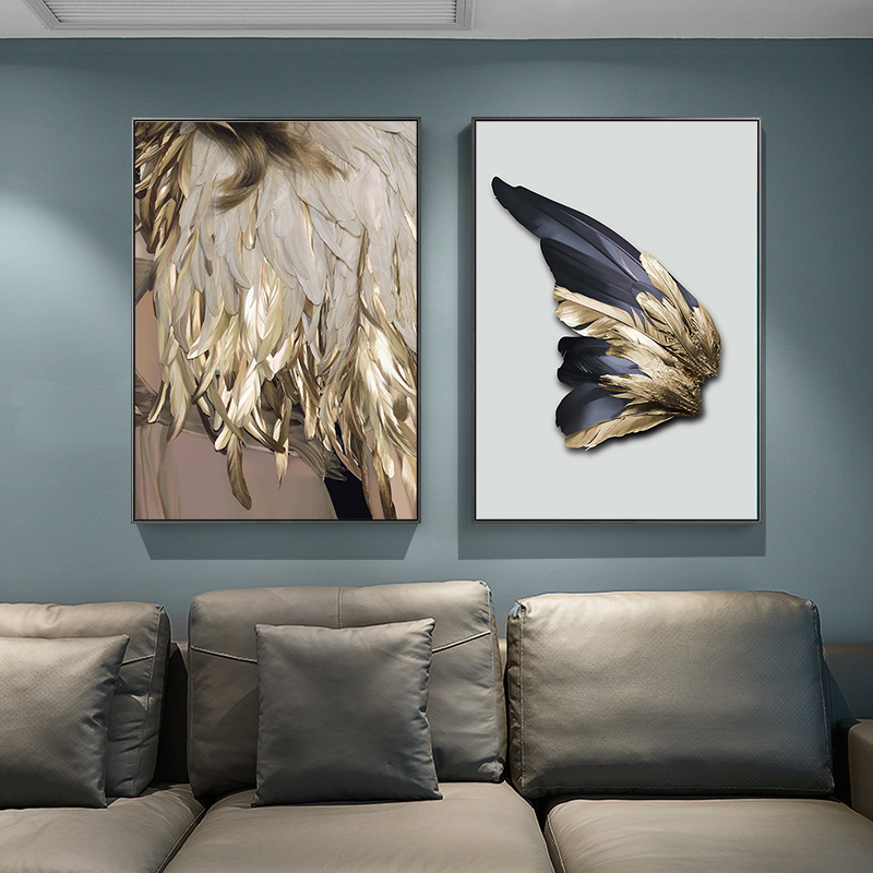 Nordic Golden Wings Feathers Canvas Painting White Poster And Print Unique Modern Decor Wall Art For Living Room Bedroom Aisle