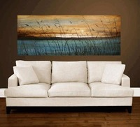 Handmade Landscape Picture Sunset Seascape Wall Decor Calligraphy Hand Painted Abstract Blue Sea Plant Oil Painting
