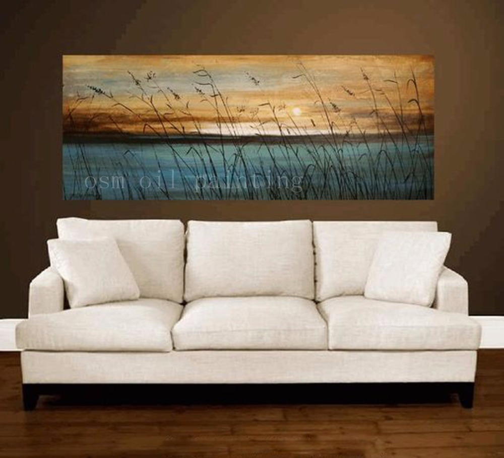 Handmade Landscape Picture Sunset Seascape Wall Decor Calligraphy Hand Painted Abstract Blue Sea Plant Oil Painting on Canvas