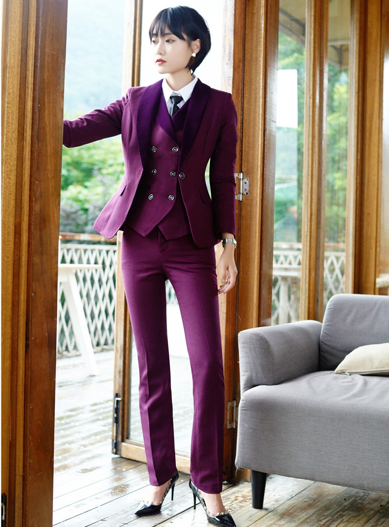 7f4c2c6d386 High Quality Fiber - Formal 3 Piece Sets Women Business Suits Waistcoat  Pant and Jacket Sets Office Uniform Designs