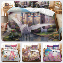 3D watercolor unicorn quilt cover bedding set Duvet Covers Pillowcases comforter sets Children Room decor