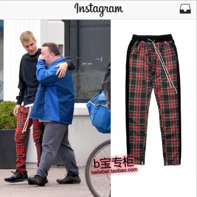 8d0124f4708 New 2018 Justin Bieber men s clothing All-match Red Plaid hit edge casual  pants trousers plus size stage singer costumes