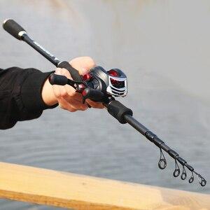 Image 3 - Carbono ultraleve portátil retrátil vara de pesca fiação 1.8 m 2.7 m squid isca vara fundição de arremesso haste telescópica vara
