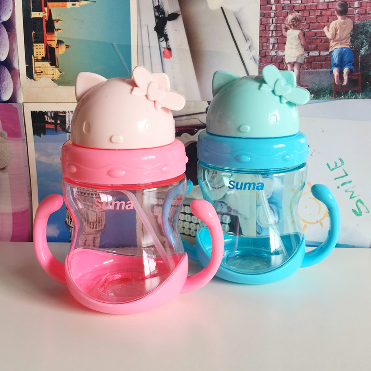 350ml Baby's Learning Drinking Water Bottles Feeding Sippy Cups With Handles And Strap Newborns Kids Cute Cartoon Leakproof Cup