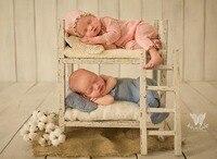 Dvotinst реквизит для фотографии новорожденных детские Ретро деревянный позирует близнецов кровать двойной слои Fotografia аксессуар студия стрел