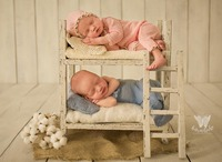 Dvotinst Newborn Photography Props Baby Retro Wooden Posing Twins Bed Double Layer Fotografia Accessory Studio Shoot Photo Props