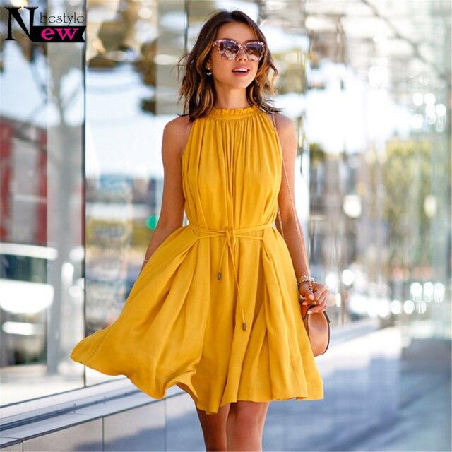 Newbestyle Women Summer Casual Sleeveless Dress Yellow Short Mini Dress  Chiffon Pleated Dress Ball Gown Simple Giant Swing Dress 9b7004319