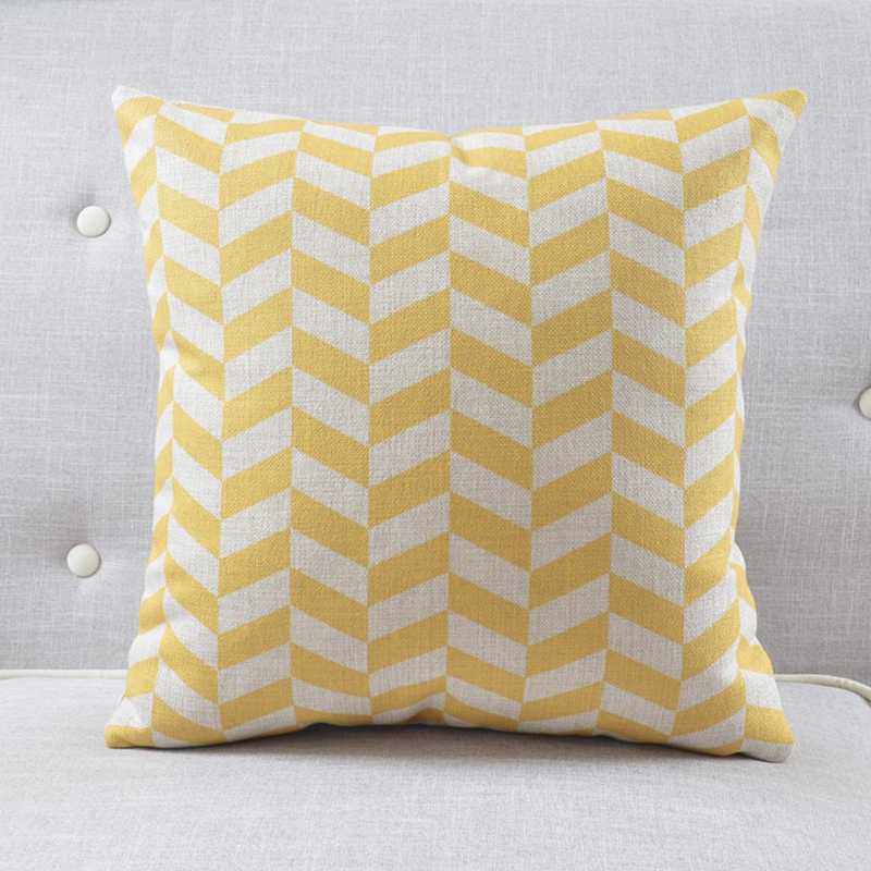 Nordico textile Cushion Covers linen home soft seat car DecorativeCushion Yellow white stripes suit  Geometric Style pillowcase