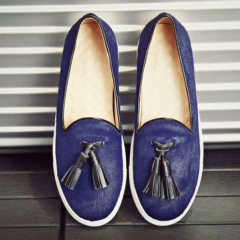 ФОТО 2017 Women Loafers brand Women Luxury Real Horsehair Woman Flat Shoes With Tassels Casual Loafers Fashion Women Luxury