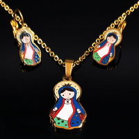 2017 Blue Family Enamel Stainless Steel Jewelry Sets Women Mom Gold Color Jewelery Sets Gift Parure