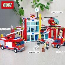 874PCS Large Fire Rescue Set DIY Model Building Blocks Fire Station Helicopter Truck Toys Fireman Figures LegoINGLYs City Series