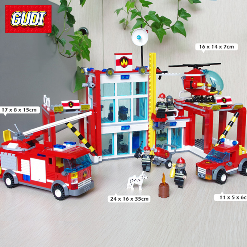 GUDI 874PCS Large Fire Rescue Set Assembled DIY Building Blocks Fire Station Helicopter Truck Toys Fireman Figures Bricks Model 12mm x 10mm t joint plastic one touch tube connector quick coupler