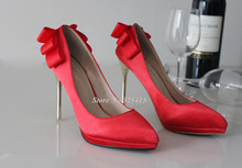 Red bowtie bridal shoes high heel pointed toe pumps fashion women's thin heel shoes PUMPS free shipping
