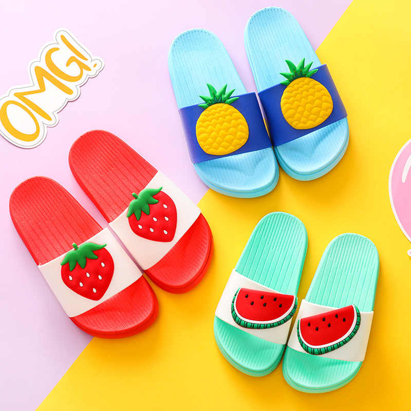 Kids Slippers Girls Boys Toddler Water Shoes Children Flip Flops Barefoot Shoes Kids Cartoon Fruit Shoes Summer Swimming Slipper