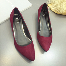 2016 Fashion retro suede shoes woman low female wild big yards shallow mouth single shoes with pointed shoes US4.5-8.5
