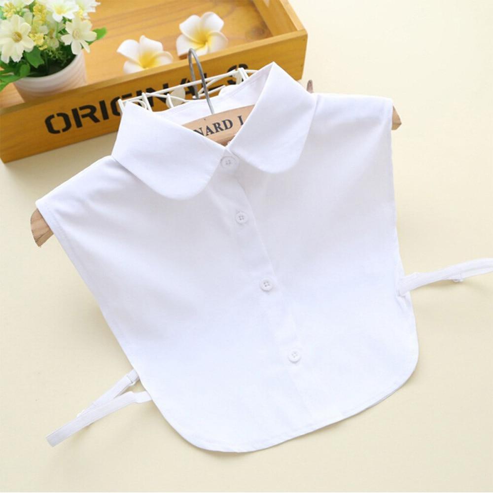 New Elegant Women Solid Shirt Soft Cotton Lace False Collar