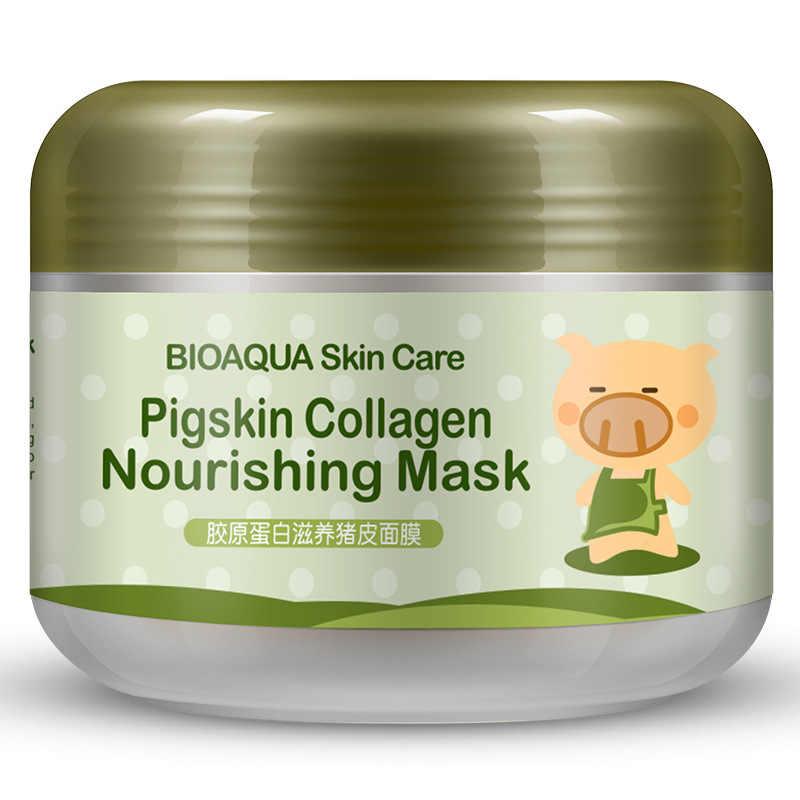BIOAQUA domuz kollajen Protein maskeleri Anti kırışıklık yaşlanma akne tedavisi gözenek küçültmek beyazlatma nemlendirici siyah nokta maskesi