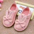Cute Rabbit Ears Toddler Shoes 2017 New Summer Hollow Leather Shoes Lovely Crystal Bow-Knot Shoes For Baby Girls Hot Sale A02151