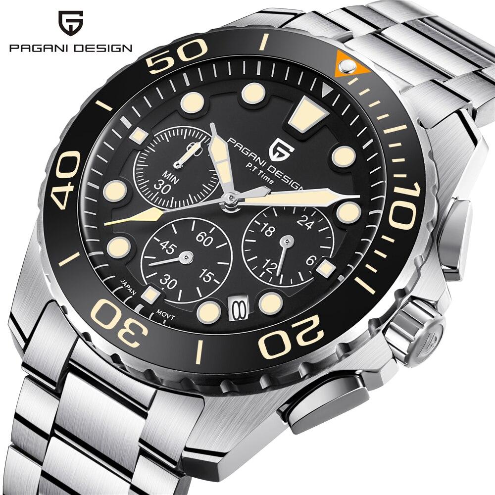 43mm Dial Chronograph Men's Watch Top Brand Luxury Sport Watches Men Stainless Steel Waterproof Japan Quartz Wristwatch Saati