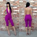 2016 hot selling women's one-pieces sexy night club evening jumpsuit blckless bandage bodycon  Free shipping outfit