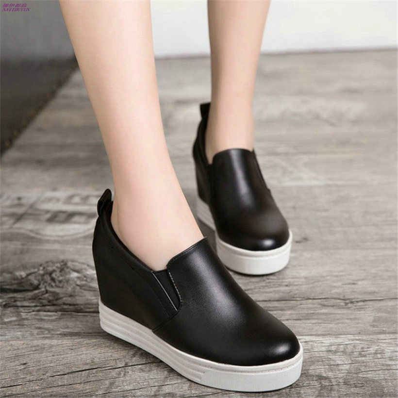 NAYIDUYUN Fashion Sneakers Women Black/White Slip On High Heels Party Pumps Shoes Wedges Platform Ankle Boots Casual Oxfords nayiduyun women casual shoes low top platform wedge high heels boots round toe slip on pumps punk chic shoes black white sneaker