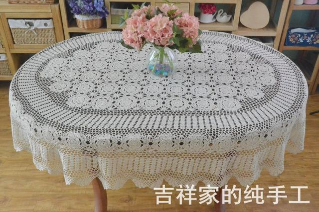 Wonderful 2017 New Arrival Best Selling Natural Cotton Crochet Lace Tablecloth Oval  Table Runner With Cutout Flower