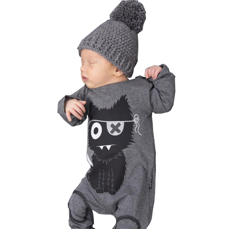 Spring Baby Rompers 2018 Gray Baby Boy Clothes Long Sleeve Cotton Cartoon One Piece Clothing Baby Boys Jumpsuit zofz baby girls clothing newborn baby boy girl clothes long sleeve cartoon printed jumpsuit baby romper for baby boy clothing