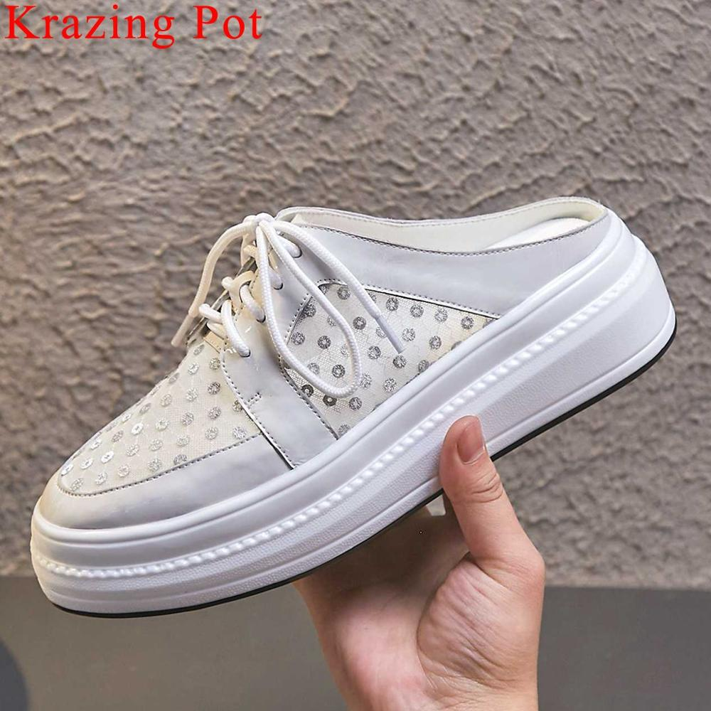 Krazing Pot 2019 ventilated mesh cow patent leather round toe flat platform slip on mules med bottom bowtie vulcanized shoes L31Krazing Pot 2019 ventilated mesh cow patent leather round toe flat platform slip on mules med bottom bowtie vulcanized shoes L31
