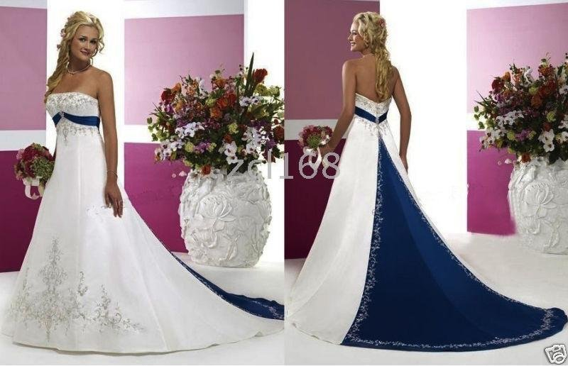 New Fashion Blue Purple White Red Accent Color Embroidery Beautiful Satin Wedding Dress In Dresses From Weddings Events On Aliexpress