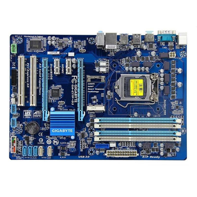 Used original Z77 motherboard for Gigabyte GA Z77P D3 DDR3 LGA1155 integrated Onboard Gigabit Ethernet Z77P