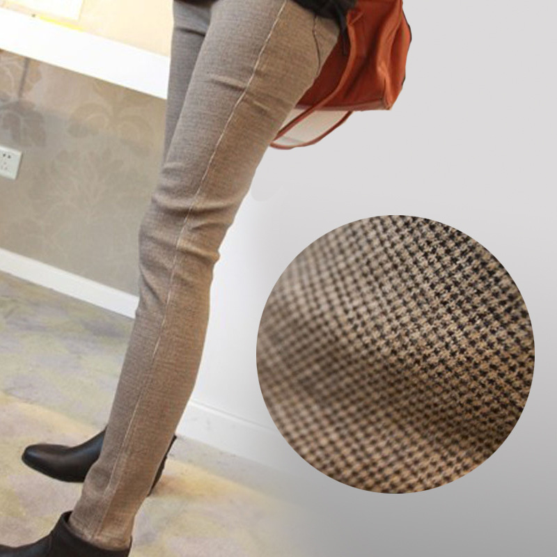 Plus fat plus code women winter plus velvet thick leisure slacks Korean version of high waist small feet pants Ms. trousers