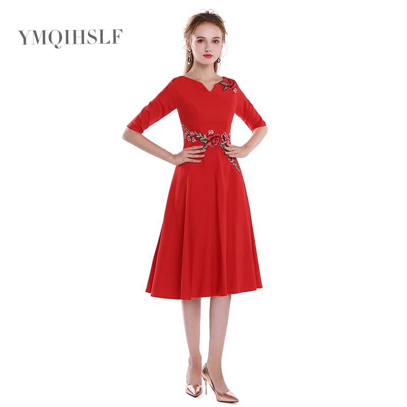 Bridesmaid     dress   2018 new slim five-point sleeves temperament elegant short wedding   dress   female lace applique red satin