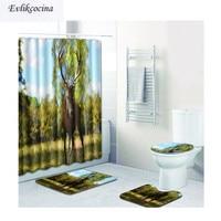 Free Shipping 4pcs Wapiti Standing Casa De Banho Banyo Bathroom Carpet Bathmat Set Non Slip Tapis Salle De Bain Alfombra Bano
