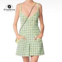 Летние Для женщин комбинезон с v образным вырезом пикантные Элегантные Боди с сетчатми рукавами зеленый твидовый костюм пляжного типа без р