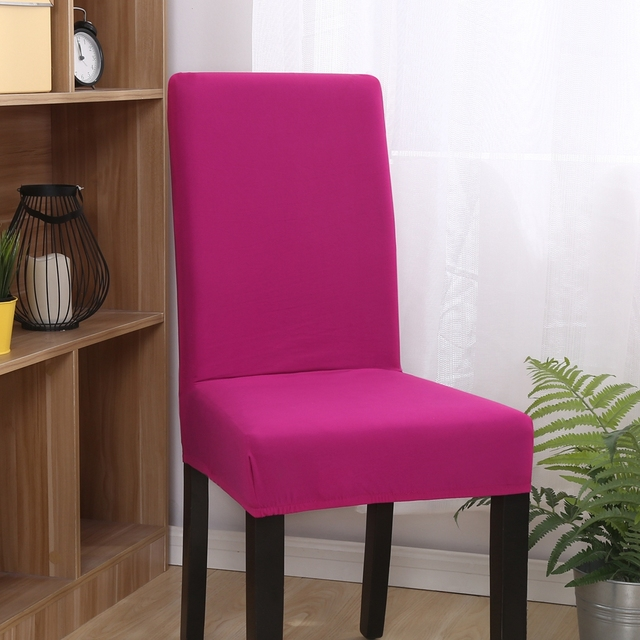 FXMH Removable Machine Washable Universal Chair Cover For Dining Room100 Polyester Solid Color