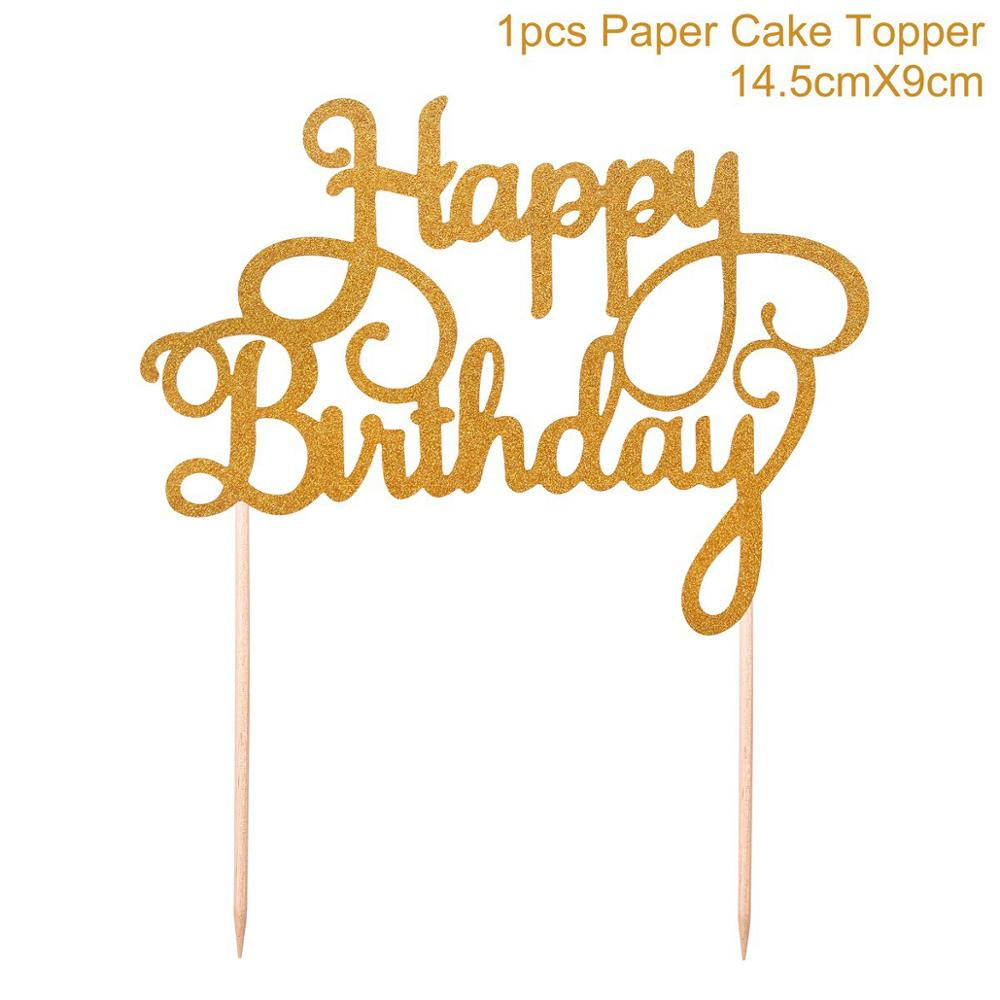 Dropwow FENGRISE 1pc Gold Happy Birthday Cake Topper 40th 50th 60th