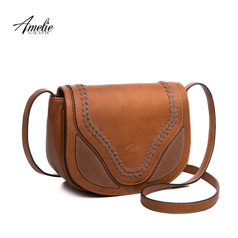 AMELIE GALANTI crossbody bags for women causal saddle purse and handbags flap solid soft high quality PU leather amelie galanti shoulder crossbody bags for women saddle purse embroidered bag with rivet long straps