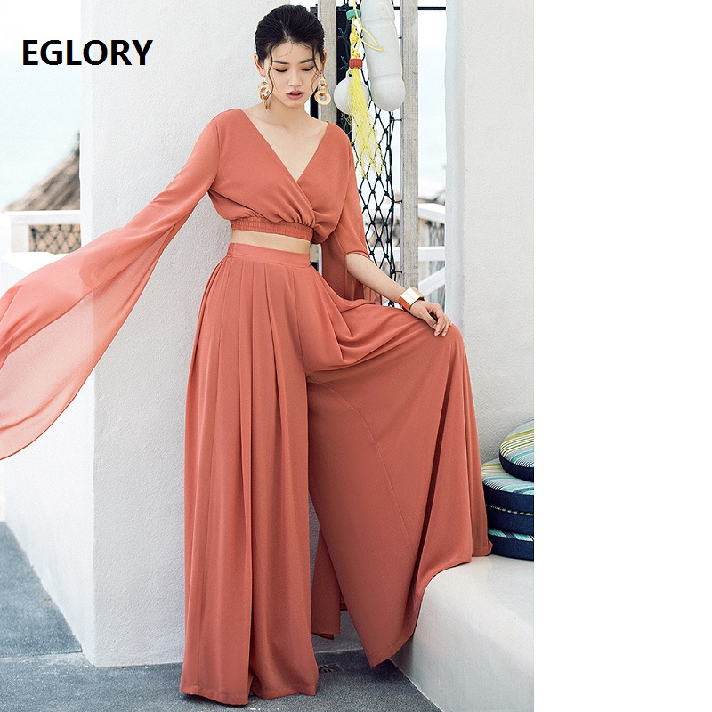 Crop Sets Summer 2018 High Quality Women V-Neck Sexy Backless Long Sleeve Crop Tops+Wide Leg Long Pant Set Beach Suit Casual