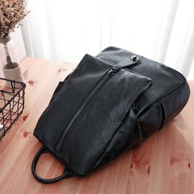 BAQI Women Backpack Genuine Leather Cowhide 2019 Fashion School Bag Girls Shoulder Bags Women Travel Bag Casual Bagpack Mochila in Backpacks from Luggage Bags