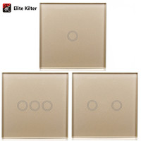 Touch Wall Light Switch LED Indicator EU Standard Smart Touch Switch Golden Crystal Glass Panel