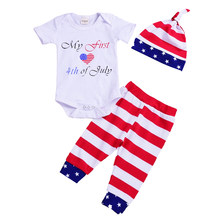 8e6108ce7 Baby Clothes Set 4th of July Newborn Infant Girl My First Romper Tops  Striped Pants Hat Baby Girl Outfits for Independence Day
