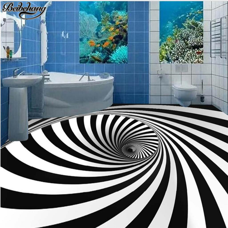 beibehang Custom large 3D floor decoration painting height to cover black and white whirlpool illusion 3D stereo floor wallpaper beibehang custom large floor sticker