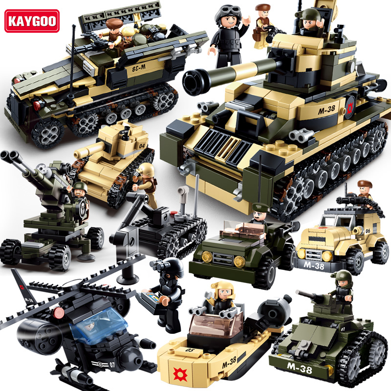 Kaygoo 8 in 1 Model building kits Military tank 928pcs 3D blocks Educational building Block Toys Gifts Best Kids Xmas Gifts
